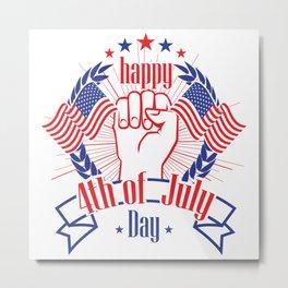 Happy 4th of July Freedom Hand & USA flag Metal Print