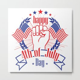 Happy 4th of July Freedom Hand & USA flag Metal Print