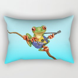 Tree Frog Playing Acoustic Guitar with Flag of Bosnia - Herzegovina Rectangular Pillow