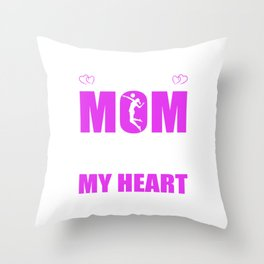 Volleyball Moms Full Heart Mothers Day T-Shirt Throw Pillow