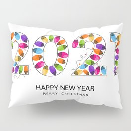 2021 white text with colorful Christmas light bulb vector. Happy new year and merry Christmas greeting card Pillow Sham