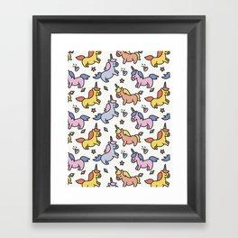 Pattern hand drawn unicorns Framed Art Print