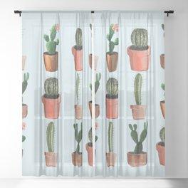 Various Cacti Light Blue Sheer Curtain