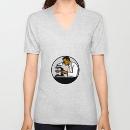 African American Research Scientist Mascot Unisex V-Neck