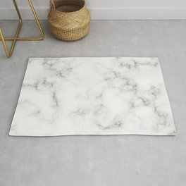 The Perfect Classic White with Grey Veins Marble Rug