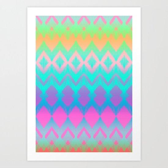 Rainbow Ikat Art Print