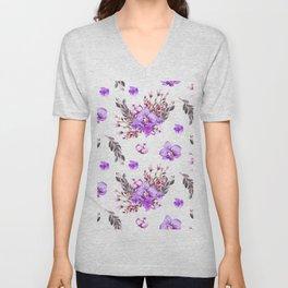 Lavender purple pink watercolor modern floral pattern Unisex V-Neck