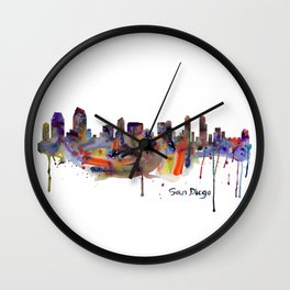 San Diego Watercolor Skyline Wall Clock