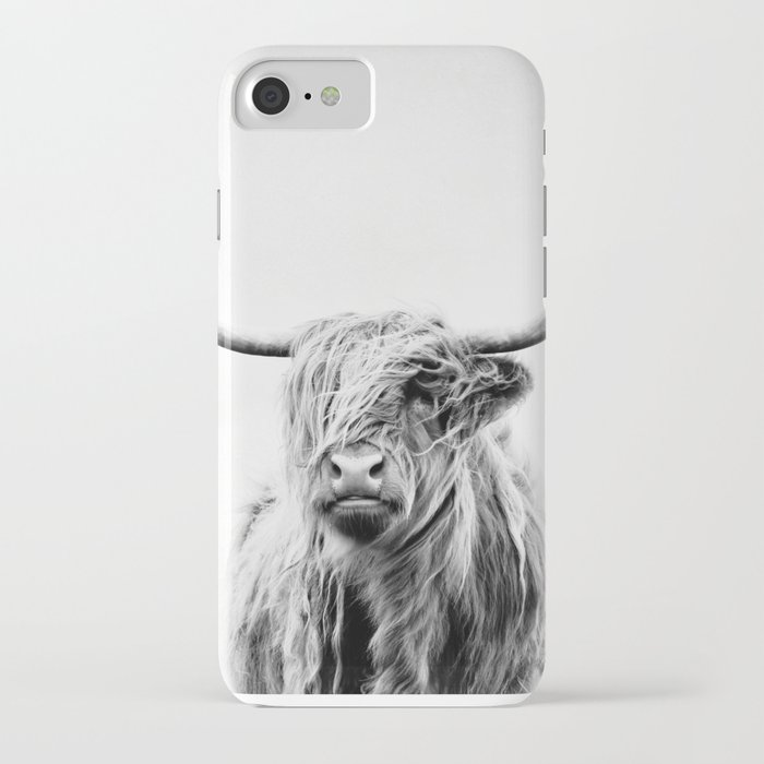 portrait of a highland cow - vertical orientation iphone case
