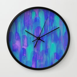 Abstract Layered Brush Texture Cold Shade Aurora Purple Blue Mint Wall Clock