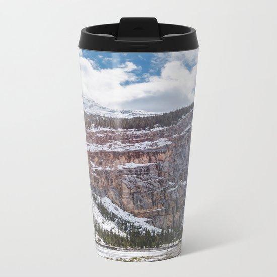 Landscape Photography Alberta Cliff | Tree line | Snow Metal Travel Mug