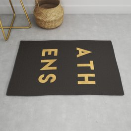 ATHENS GREECE GOLD CITY TYPOGRAPHY Rug