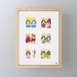 Japanese sandals painted in gouache Framed Mini Art Print