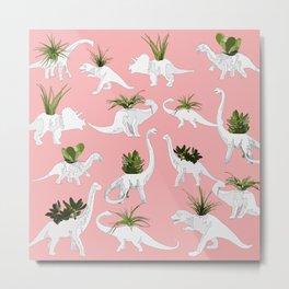 Dinosaurs & Succulents Metal Print