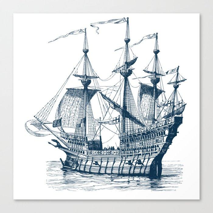 Blue vintage nautical wind sailing boat Leinwanddruck