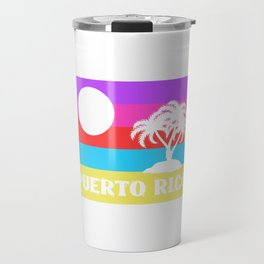 Here's A Great 80's design A Colorful 80's Design Saying Puerto Rico T-shirt Design Beach Summer Travel Mug