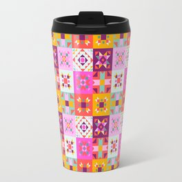 Maroccan tiles pattern with pink Travel Mug