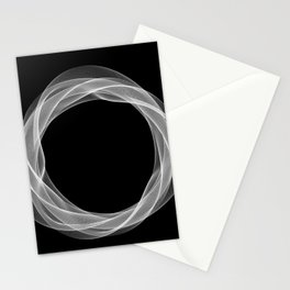 Black White Minimal Geometry Graphic Harmonic Abstract Line Stationery Cards