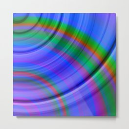 Fluttering curved semicircles with a crisp indigo accent and all the colors of the rainbow. Metal Print