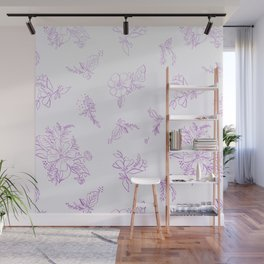 beautiful,violet,floral,shabby chic,pattern,french chic, country chic, vintage, Wall Mural