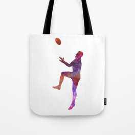 Rugby man player 01 in watercolor Tote Bag