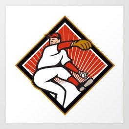 American Baseball Pitcher Throwing Ball Cartoon Art Print