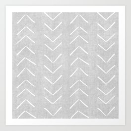 Mudcloth Big Arrows in Grey Art Print
