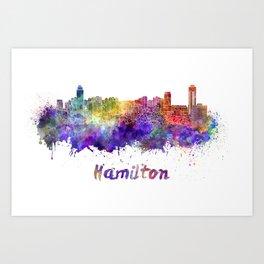 Hamilton skyline in watercolor Art Print