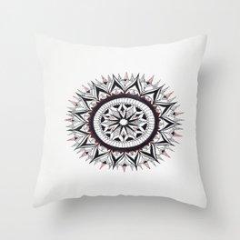 Burgundy & Black Mandala Throw Pillow