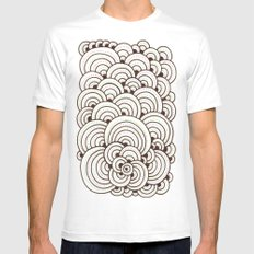 Dot Cluster 4 White Mens Fitted Tee MEDIUM