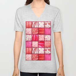 Faux Patchwork Quilting - Pink and Red Unisex V-Neck