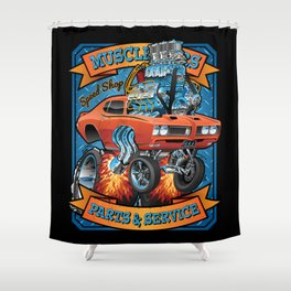 Classic Sixties Muscle Car Parts & Service Cartoon Shower Curtain