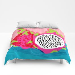Hard Core - memphis throwback retro neon tropical fruit dragonfruit exotic 1980s 80s style pop art Comforters