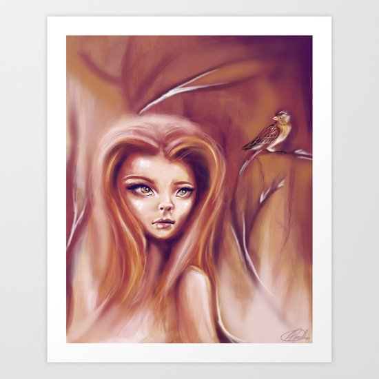 Sparrow In The Fire Art Print
