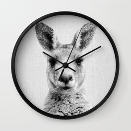 Kangaroo - Black & White Wall Clock
