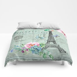 Paris - my love - France Eiffeltower Nostalgy - French Vintage Comforters