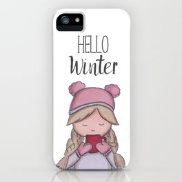 Hello winter | cold time | winter time | Art print | marker painting iPhone Case