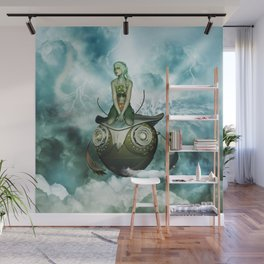 Steampunk women fly with a mechanical owl Wall Mural