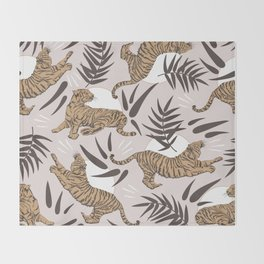 Tigers and Bamboo Leaves Throw Blanket