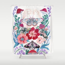 Floral moth painting Shower Curtain