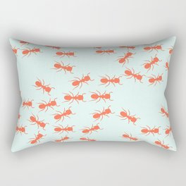 Cute Ants Pattern in blue and red Rectangular Pillow