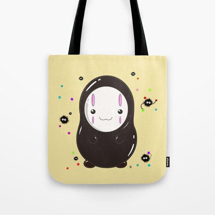Spirited Away No Face Kawaii With Soot Sprites Tote Bag