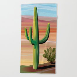 Saguaro Cactus in Desert Beach Towel