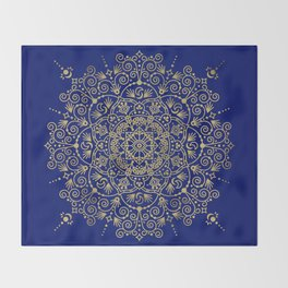 Moroccan Mandala – Gold Ink on Navy Throw Blanket