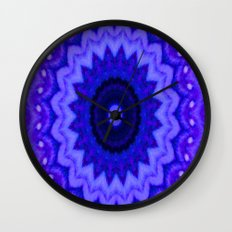 Lovely Healing Mandala  in Brilliant Colors: Black, Purple, and Blue Wall Clock