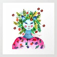 Miss Lady Cat Art Print