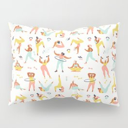 Women different sizes, ages and races activities. Set of women doing sports, yoga, jogging, jumping, stretching, fitness. Pillow Sham