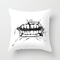 teeth Throw Pillows featuring Teeth by Tanya_Vazh