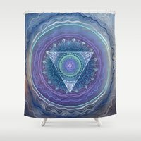 third eye Shower Curtains featuring Ajna Third Eye Chakra by brenda erickson