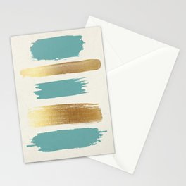 Brush Strokes (Teal/Gold) Stationery Cards